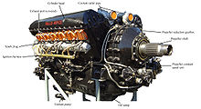 A front right view of a Vee twelve aircraft piston engine centred around a large propeller shaft has components labelled by black lines to each component description. Labelled components include the propeller reduction gearbox, exhaust ports, spark plugs and the coolant pump