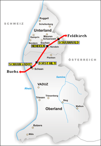 A map of Liechtenstein showing the railway line and the 4 stations