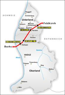 リヒテンシュタイン-交通-Rail map of Liechtenstein