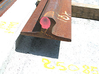 Rail profile - Section of the Translohr guidance rail (during the Clermont-Ferrand installation in 2006)
