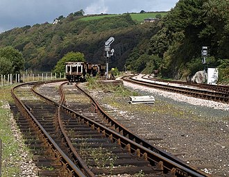 Siding (rail) - Railway sidings (left) beside the main running-lines (right) at Kingswear in Devon, England