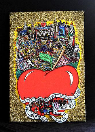 "Charles Fazzino - Front view of ""Raining Gold"" by Charles Fazzino"