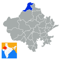 Location of Sri Ganganagar district in Rajasthan