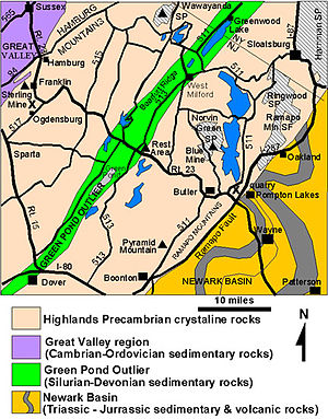 Ramapo Fault - The fault separates the New Jersey Highlands and Piedmont sectors.