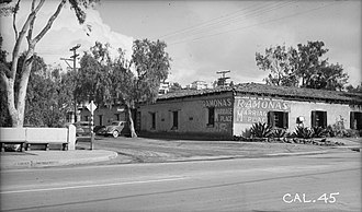 """Casa de Estudillo - In 1937, with """"Ramona's Marriage Place"""" prominently visible. Note the missing cupola."""