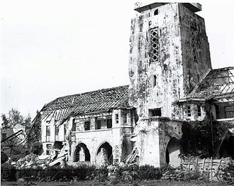 Rangoon University suffered damage during World War II. RangoonUniversityAdministrationBuilding.jpg