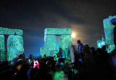 Stonehenge is a site visited by New Age pilgrims, as seen in this midsummer rave. Rave in the Henge 2005.jpg