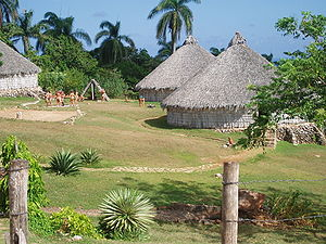 Reconstruction of Taino village, Cuba