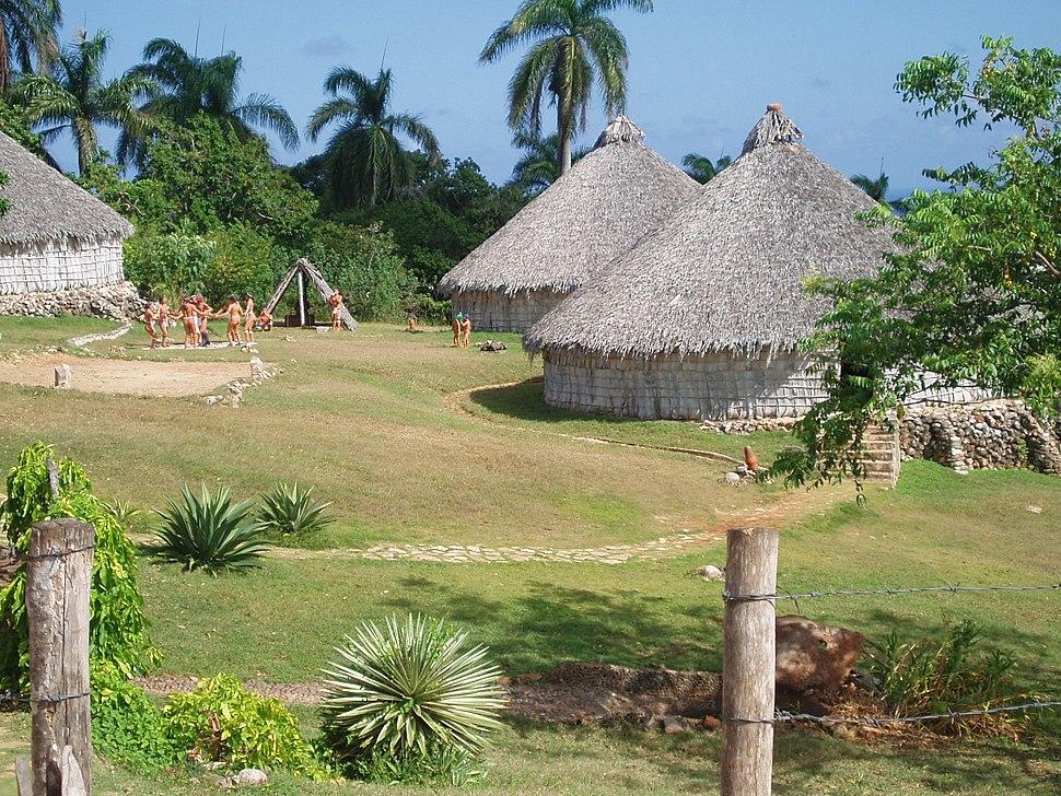 Reconstruction of Taino village, Cuba