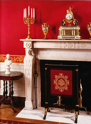 Red Room (White House) - Detail of 1818 Empire mantel and fire screen during the Clinton administration.