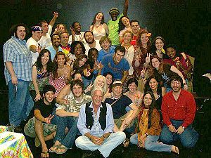 Hair (musical) - Butler (front) and Rado (behind Butler, in black T-shirt and cap) with a 2006 Hair cast in Red Bank, New Jersey