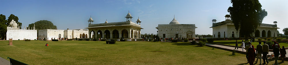 View of the pavilions in the courtyard