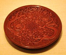 Red lacquerware dish, Ming Dynasty.jpg