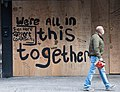 """Restaurant Displays Sign 'We're All In This Together"""" New York City COVID19.jpg"""