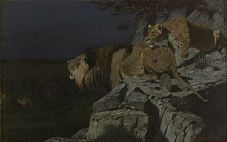Leeuwenpaar loerend naar nachtelijk kampvuur