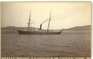 "I. W. Taber - USRC Richard Rush (1874) on her departure January 2, 1886, in search of the ""Amethyst"""