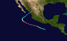 The track of a major hurricane starts off the southwestern Pacific coast of Mexico, heads northwestward, and ultimately turns northeastward before moving ashore.