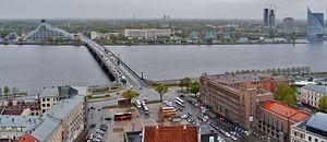 Akmens tilts - Image: Riga Petrikirche Blick vom Turm auf die Daugava 1
