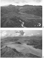Before and after the eruption: a river valley filled in by pyroclastic flow deposits