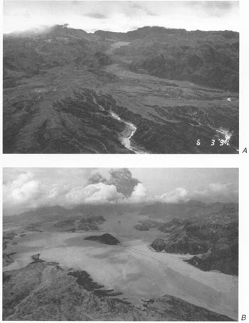 River valley filled in by pyroclastic flows, Mt. Pinatubo