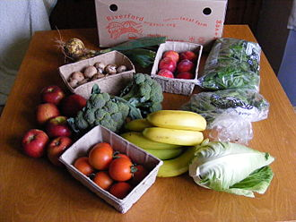 Riverford - The contents of a Riverford fruit and vegetable box from July 2009
