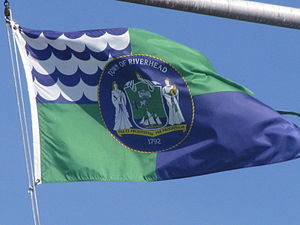Riverhead (town), New York - Flag of the Town of Riverhead flying at Grumman Memorial Park.