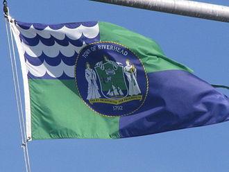 Riverhead (town), New York - Flag of the Town of Riverhead flying at Grumman Memorial Park.