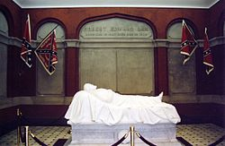"So-called ""Recumbent Statue"" of Robert E. Lee in Lee Chapel in Lexington, Virginia, of Lee asleep on the battlefield, sculpted by Edward Valentine. It is often mistakenly thought to be a tomb or sarcophagus, but Lee is actually buried elsewhere in the chapel."