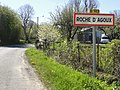 Roche d'Agoux (Puy-de-Dôme) city limit sign.JPG