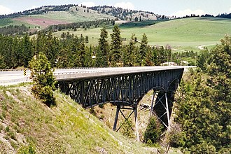 British Columbia Highway 3 - Crossing the Rock Creek Canyon Bridge between Osoyoos and Rock Creek.