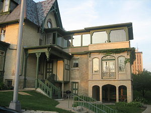 Lake–Peterson House - The three-story porch was a post-1918 addition to the house.