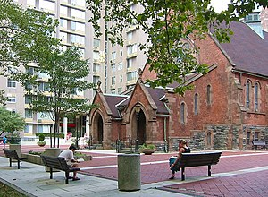 Roosevelt Island - The 1889 Chapel of the Good Shepherd in modern surroundings
