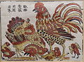 Rooster and hen, Dong Ho picture, paper - Vietnam National Museum of Fine Arts - Hanoi, Vietnam - DSC05287.JPG