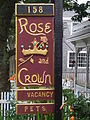 Rose and Crown guest house sign, Provincetown, MA, USA.JPG
