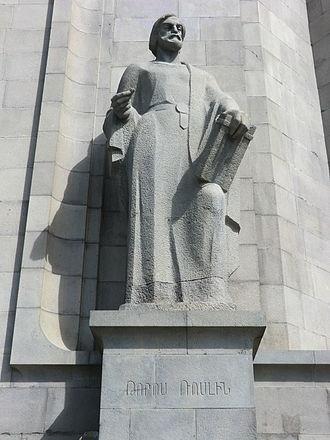 Toros Roslin - Statue of Toros Roslin in front of the entrance of Matenadaran