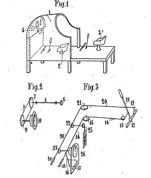 Patent drawing of flight simulator by Rougerie...