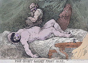 The Nightmare -  Politician Charles James Fox is the subject of Thomas Rowlandson's satirical coloured etching The Covent Garden Night Mare (1784).