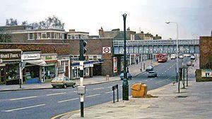 Ruislip Manor - Ruislip Manor shops and tube station in 1978