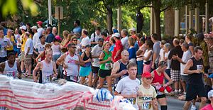 Peachtree Road Race - Runners on procession