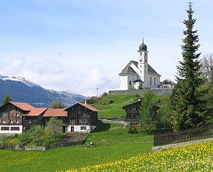 Ruschein - Ruschein village and Church of S.Gieri