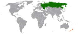 Map indicating locations of Russia and New Zealand