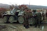 Members of the Russian Army during a mission in Bosnia in 1996 after the Bosnian War.