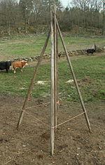 Opstillet rytter, med ophængningsreb har opspændt i knæhøjde.   Under det fremspringende ladutaket står lageren af ryttere mellem høstsæsonerne.