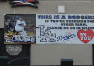 Hyun-jin Ryu - A banner supporting Ryu hangs in Koreatown in Los Angeles in July 2013.