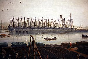 In ordinary - Detail of the view of Toulon in the Vues des ports de France by Claude Joseph Vernet, showing part of the French fleet stored in ordinary in the military harbour.