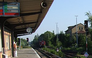 Marienfelde station - Entrance of a freight train from the north