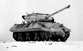 M36 tank destroyer - 90 mm GMC M36 during the Battle of the Bulge in January, 1945.