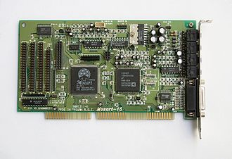 Parallel ATA - An Oak Technology Mozart 16 16-bit ISA sound card, from when the CDROM drive interface had not yet been standardized. This card offers four separate interface connectors for IDE, Panasonic, Mitsumi, and Sony CDROM drives, but only one connector could be used since they all shared the same interface wiring.