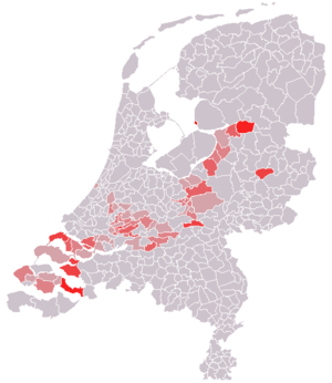 Reformed Political Party - Areas where the Political Reformed Party received a significant amount of votes in 2003, largely coextensive with the Dutch Bible Belt.