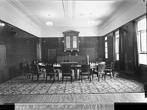 Municipality of Ashfield - The Council Chamber within the original Ashfield Town Hall in 1938.